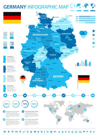 Germany infographic map and flag - vector illustration Illustration
