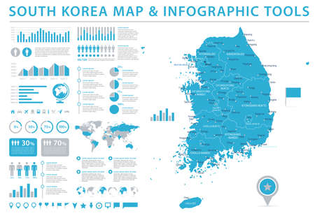 South Korea Map - Detailed Info Graphic Vector Illustration