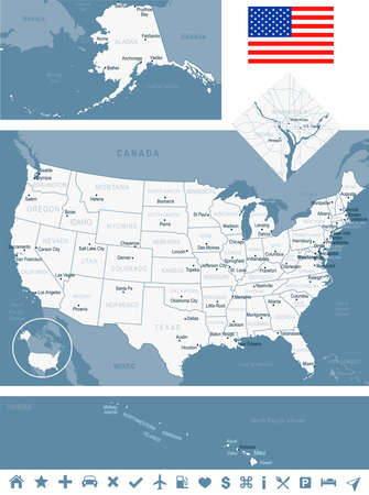 detroit: USA map and flag - highly detailed vector illustration