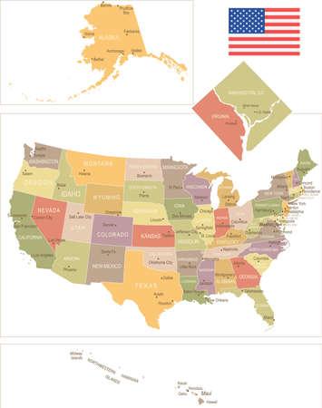 detroit: United States vintage map and flag - vector illustration Illustration