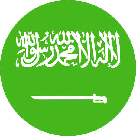 Saudi Arabia Flag Vector Round Flat Icon - Illustration.