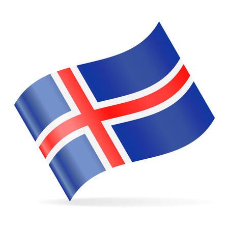 Iceland Flag Vector Waving Icon - Illustration