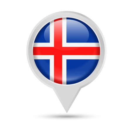 Iceland Flag Round Pin Vector Icon - Illustration