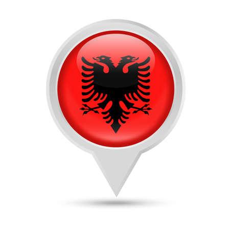 Albania Flag Round Pin Vector Icon - Illustration