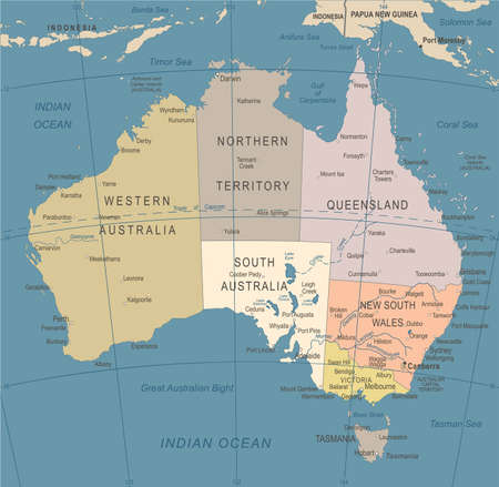 Australia Map - Vintage Detailed Vector Illustration