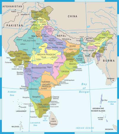 India Map - Detailed Vector Illustration Illustration