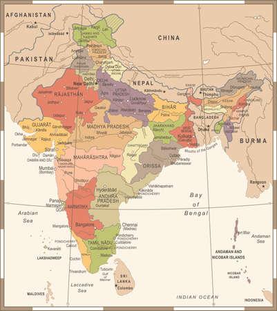 India Map - Vintage Detailed Vector Illustration