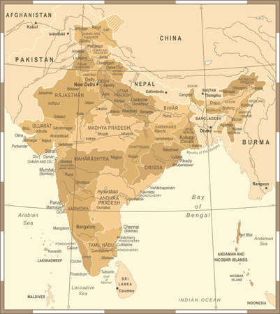 India Map - Vintage Detailed Vector Illustration