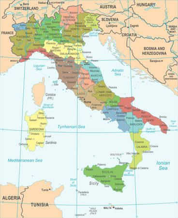 Italy Map - Detailed Vector Illustration