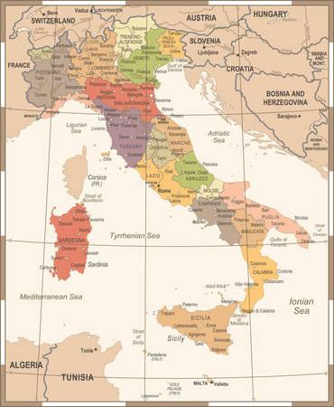 Mapa de Italia - ilustración detallada del vector de la vendimia