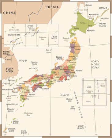 Japan Map - Vintage Detailed Vector Illustration