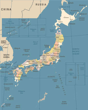일본지도 - 빈티지 상세한 벡터 일러스트 일러스트