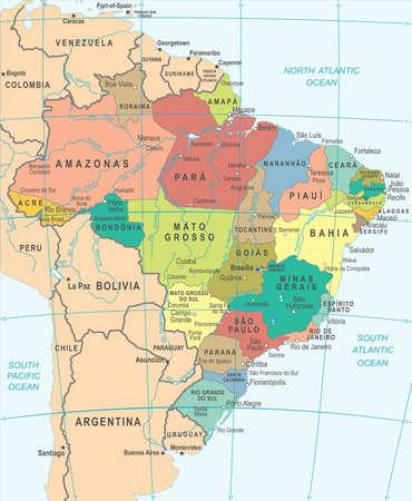 Brasilien-Karte - ausführliche vektorabbildung Standard-Bild - 88834265