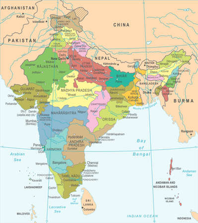 India Map - Detailed Vector Illustration Illustration