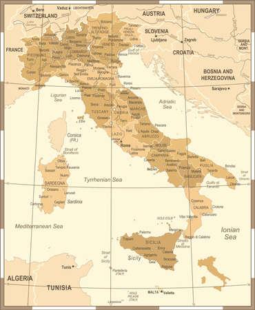 Italië kaart - Vintage gedetailleerde vectorillustratie