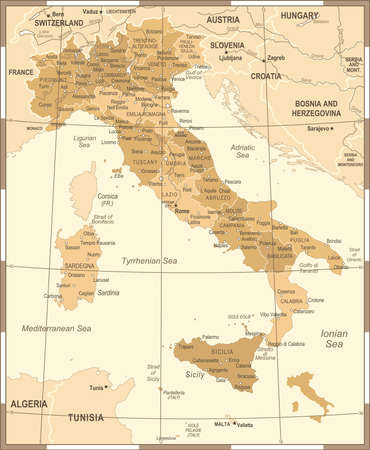 Italy Map - Vintage Detailed Vector Illustration Stok Fotoğraf - 88834270