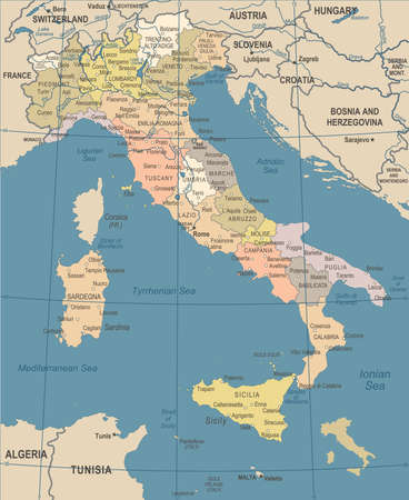 Italy Map - Vintage Detailed Vector Illustration