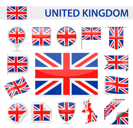 United Kingdom Flag Set - Vector Illustration Иллюстрация