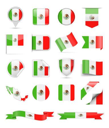 Mexico Flag Set - Vector Illustration Illustration