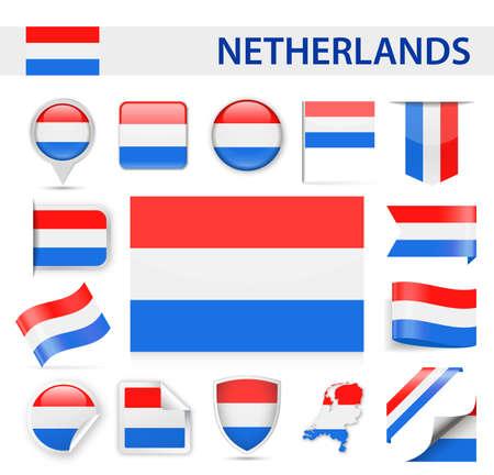 Nederlandse vlag set - vectorillustratie