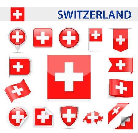 Switzerland Flag Set - Vector Illustration