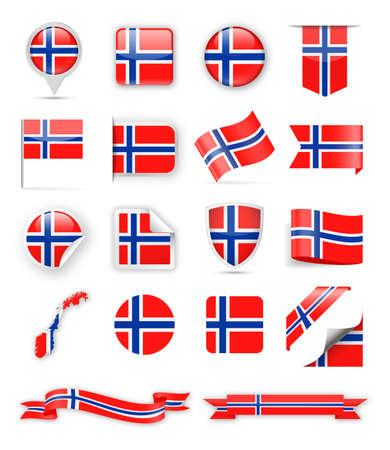 Norway Flag Set - Vector Illustration