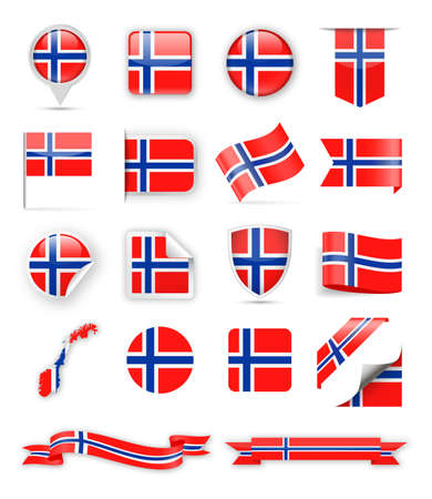 Norway Flag Set - Vector Illustration