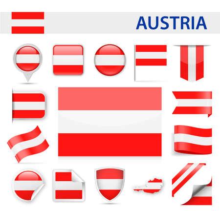Sterreich-Flaggen-Set - Vektor-Illustration Standard-Bild - 88834332