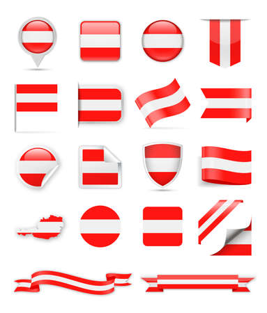 Austria Flag Set - Vector Illustration Çizim