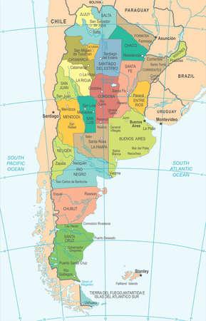 アルゼンチンの地図イラスト色。  イラスト・ベクター素材