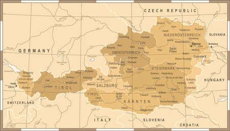 Austria Map Vintage Detailed Vector Illustration