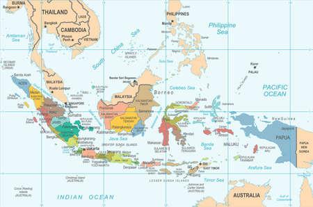 Indonesia Map p Detailed Vector Illustration Illustration
