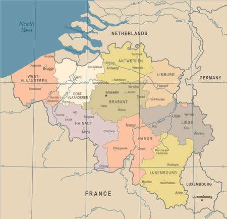 Belgium Map - Vintage Detailed Illustration