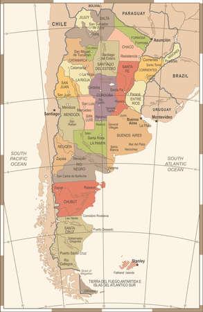 アルゼンチンのマップ-詳細なヴィンテージイラスト  イラスト・ベクター素材