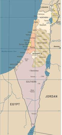 Israel Map Vintage Detailed Vector Illustration