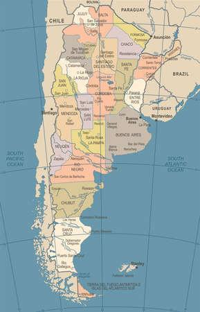 アルゼンチン地図 - ビンテージ ベクトル イラストの詳細 写真素材 - 89135459