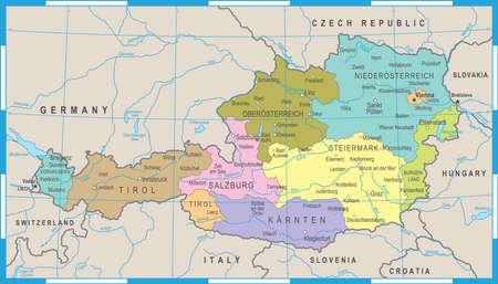 Austria Map - Detailed Vector Illustration