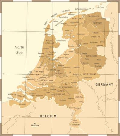 Netherlands Map - Vintage Detailed Vector Illustration Illustration