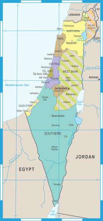 Israel Map - Detailed Vector Illustration Çizim