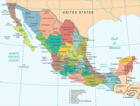 Mexico Map - Detailed Vector Illustration