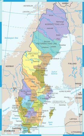 Illustrazione dettagliata di vettore della mappa della Svezia Archivio Fotografico - 89002087