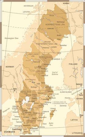 Sweden Map Vintage Detailed Vector Illustration