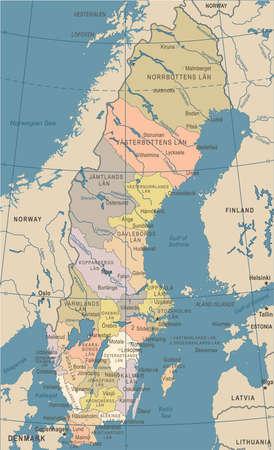 Illustrazione dettagliata d'annata di vettore della mappa della Svezia Archivio Fotografico - 89002090