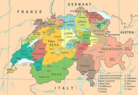 Ilustración detallada del vector del mapa de Suiza
