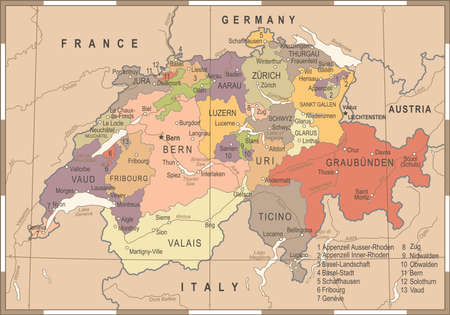 Switzerland Map Vintage Detailed Vector Illustration Illustration