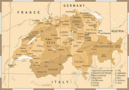Switzerland Map - Vintage Detailed Vector Illustration Illustration