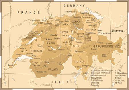 Switzerland Map - Vintage Vector Illustration détaillée Banque d'images - 89002095