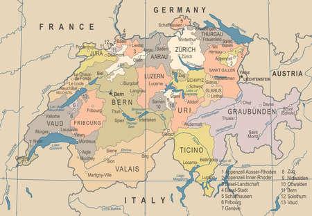 Suisse carte - vintage détaillée illustration vectorielle Banque d'images - 89002098