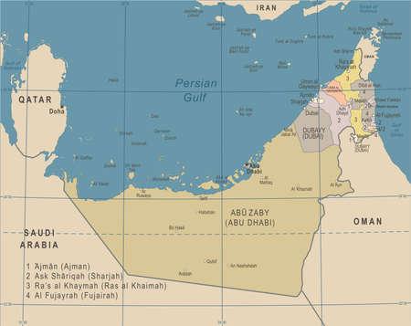 United Arab Emirates Map - Vintage Detailed Vector Illustration Stock Vector - 89002096