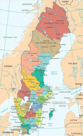 Zweden kaart - gedetailleerde vectorillustratie
